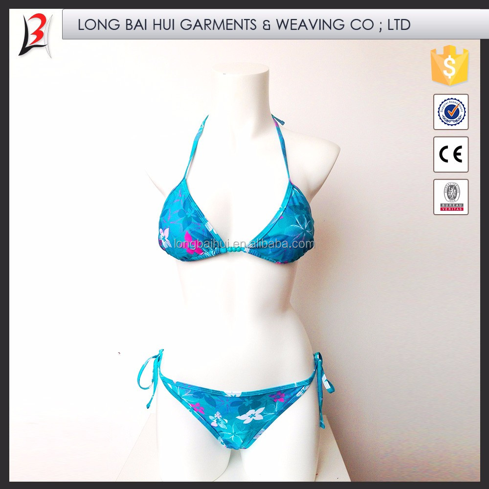 Bikini custom made 100% polyester Sexy girls shiny swimwear high fork backless swimsuit