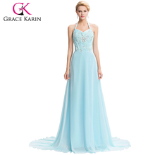 Grace Karin Elegant Halter Empire Waist Beaded Lace Up Back Dress Light Blue Long Chiffon Evening Dresses CL4653-1