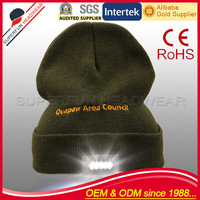 Custom embroidered logo woolen LED beanie caps online