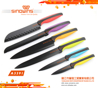A3391 Hot Sale High Quality Colorful Non-stick Coated Kitchen Knife Set