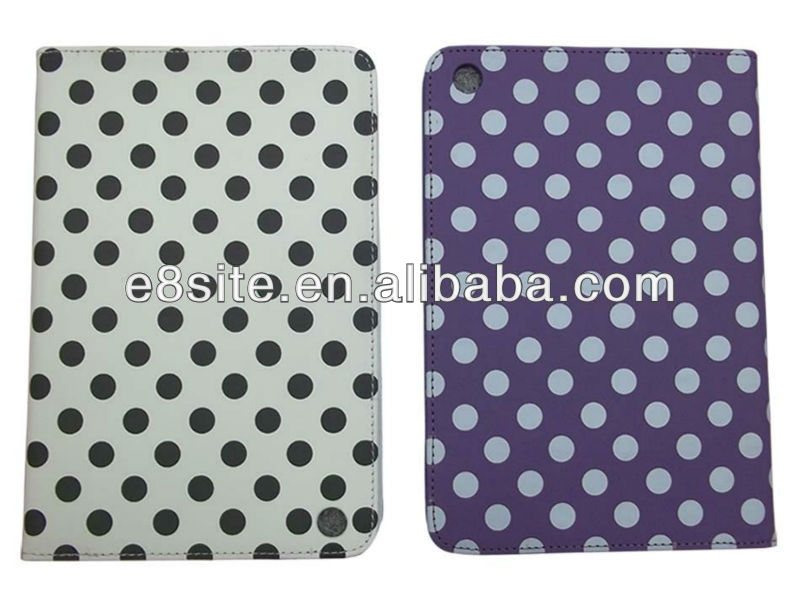 Polka Dot Pattern Leather Cover For iPad Mini