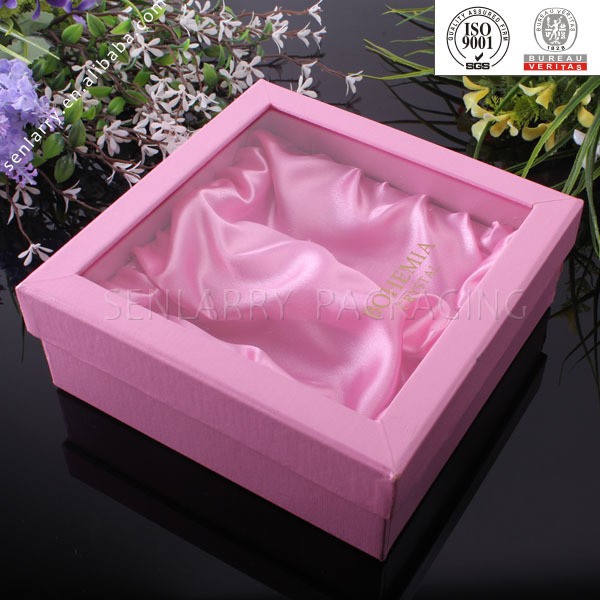 fancy square lid and base silk gift packaging box with window