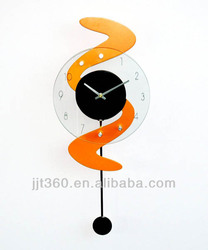 2015 New Design Pendulum Wall Clocks Glass Cover Wooden Pendulum Wall Clocks