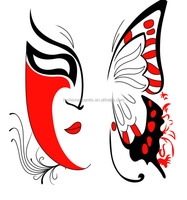 New design Red Butterfly Mask Face Motif Heat Transfer wholesale high density plastisol printing on cotton fabric