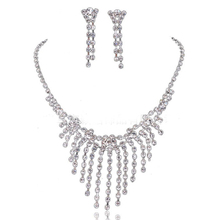 Luxurions Long tassels bridal jewelry set crystal rhinestone necklace earring sets for wedding Jewelry Sets Wholesale