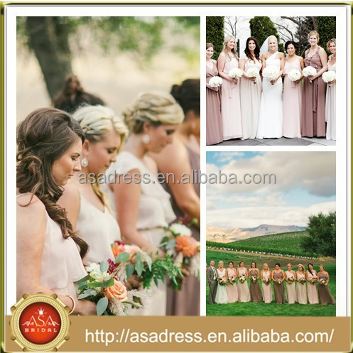 BDR6 Gorgeous Custom Made Different Styles Chiffon Peach Color Long Bridesmaid Dress