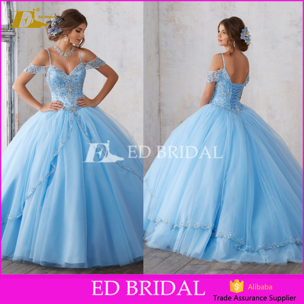 New Coming Sapghetti Strapless Lace Up Ball Gown Blue Beaded Sexy Wedding Dress 2017