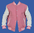 Pink And White Letterman Varsity Jacket , Girls Baseball Varsity Jacket , Varsity Jacket