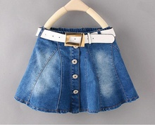 D&S factory dropshipping vintage belted denim a line skirt kid girl mini skirt