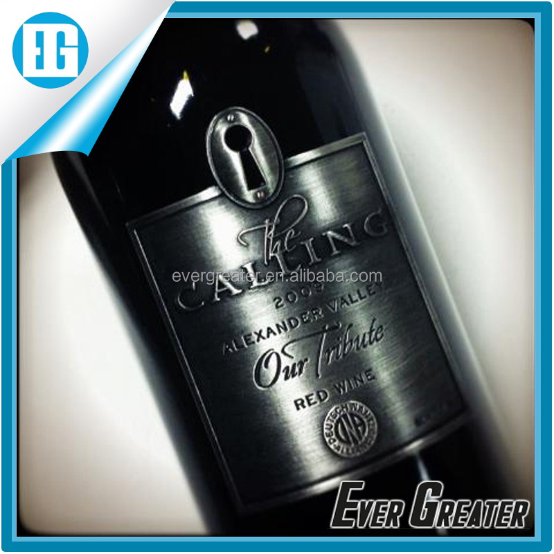 Wine metal <strong>label</strong>, custom print low price designer <strong>label</strong> wine bottle <strong>label</strong>