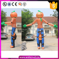 long leg walking moving cartoon inflatable pumpkin mascot for Halloween decoration