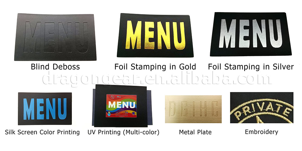 Custom print logo economic leather menu cover CE,GS approved