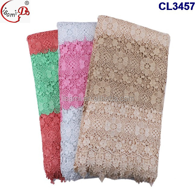 CL3457 Latest design good quality african guipure embroidery lace fabric 5 yards