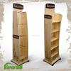 Retail Floor Display Stand, Supermarket Wooden Shelf rack , Promotion Display with wheels