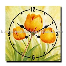 Square vivid tulip canvas paintings artworks wall clock, home deco arts and crafts MDF wood wall clock