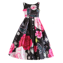 Women Vintage 50s Clothing Dress 2017 Chic Fashion Floral Print Evening Party A-line Summer Autumn Ball Gown Flared Dresses