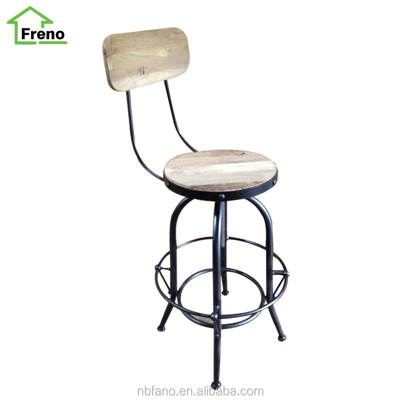 Industrial Wood Adjustable Seat Barstool High Chair: Vintage Industrial Furniture Adjustable Metal Bar Stool