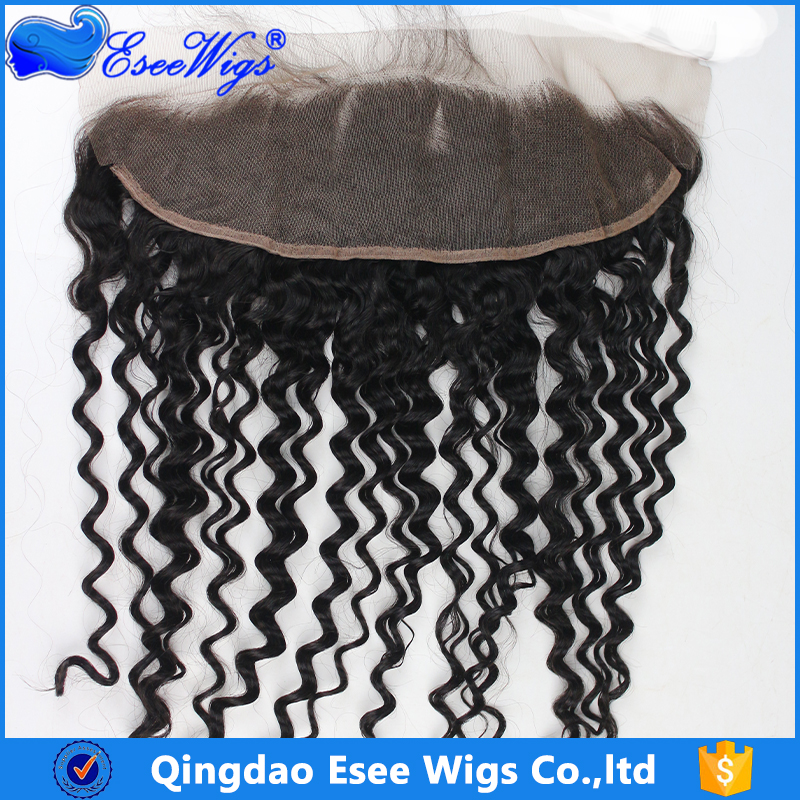 Wholesale price peruvian virgin hair lace frontal 13X4 curly wave