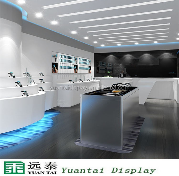 Modern mobile shop display desk, stainless steel table with lights decoration