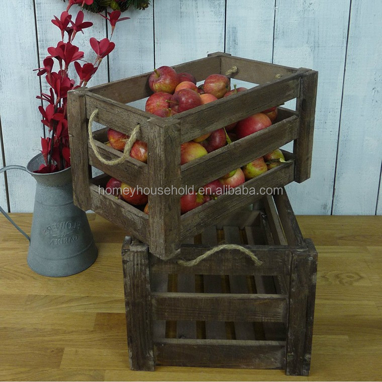 Customized distressed finished wooden crate for fruit and vegetable promotional