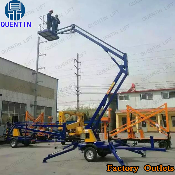 12m portable crank arm lift platform tow aerial work man lifts trailed boom lift for sale