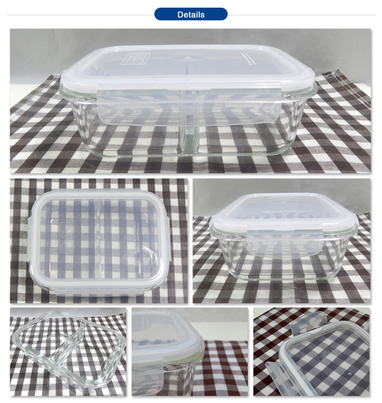 Wholesale Divided Glass Bento Lunch Boxes Leakproof