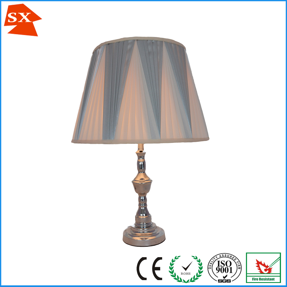 Modified drum V pleated faux silk fabric lamp shade