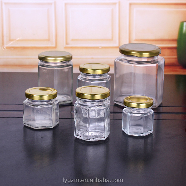 1.5oz 2.5oz 3oz 6oz 13oz wholesale price different sizes hexagonal glass jar for honey and jam