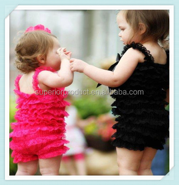 Lace hem hot pink black rompers jumpsuits wholesale baby lace solid ruffle petti posh girls lace romper for kids