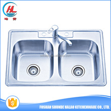 Hot sale china manufacture double bowl folding sink topmount sink utility