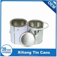 4 liter round tin paint can with lid and plastic handle, paint bucket china supplier