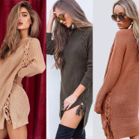 Fashion New Design Round Neck Long Sleeve Side Sexy Pullover Sweater Polyester Cotton Dress Women Girl Sweater