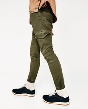 Mens casual baggy ankle banded pants carrot fit jeans