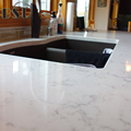 Man Made Stone Kitchen Countertops , White Marbling Quartz Stone