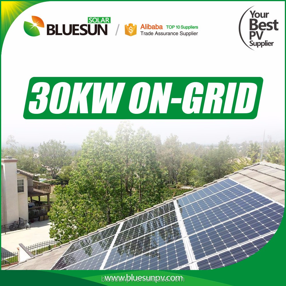 Bluesun grid tied pv system 30kw solar engineering system project