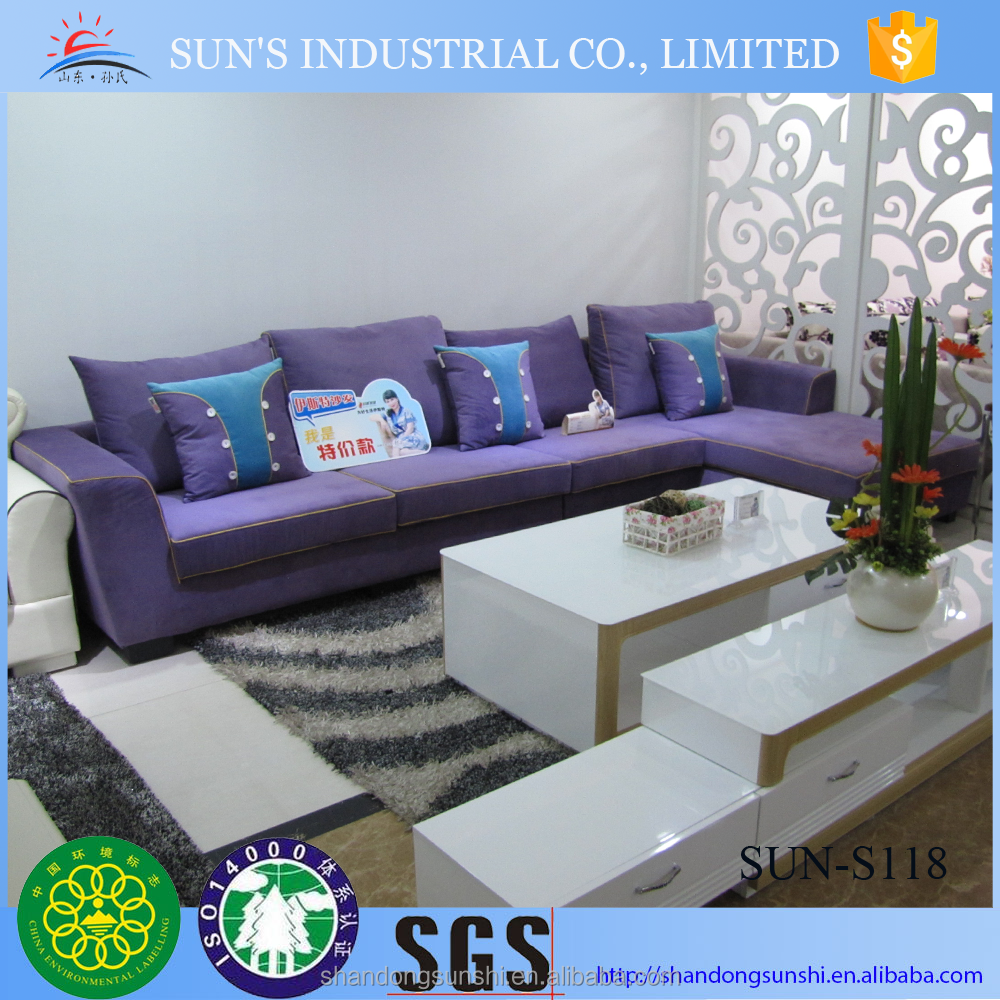 SUN purple fabric living room sofas sectional sofa home furniture S118