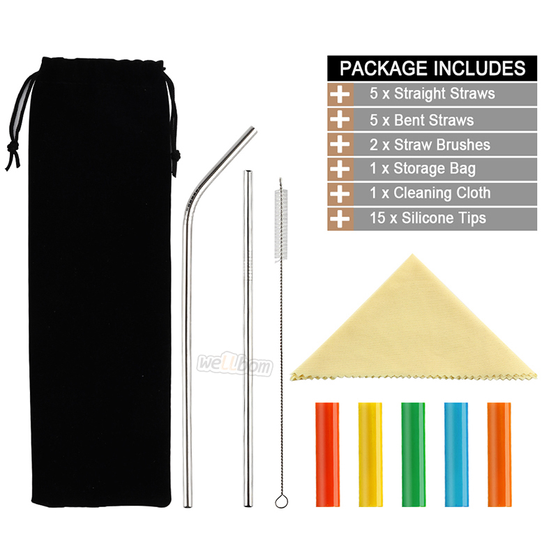 Reusable FDA Stainless Steel Drinking Straws with 15 Silicone Caps and Cleaning brush for Mugs 20-30oz