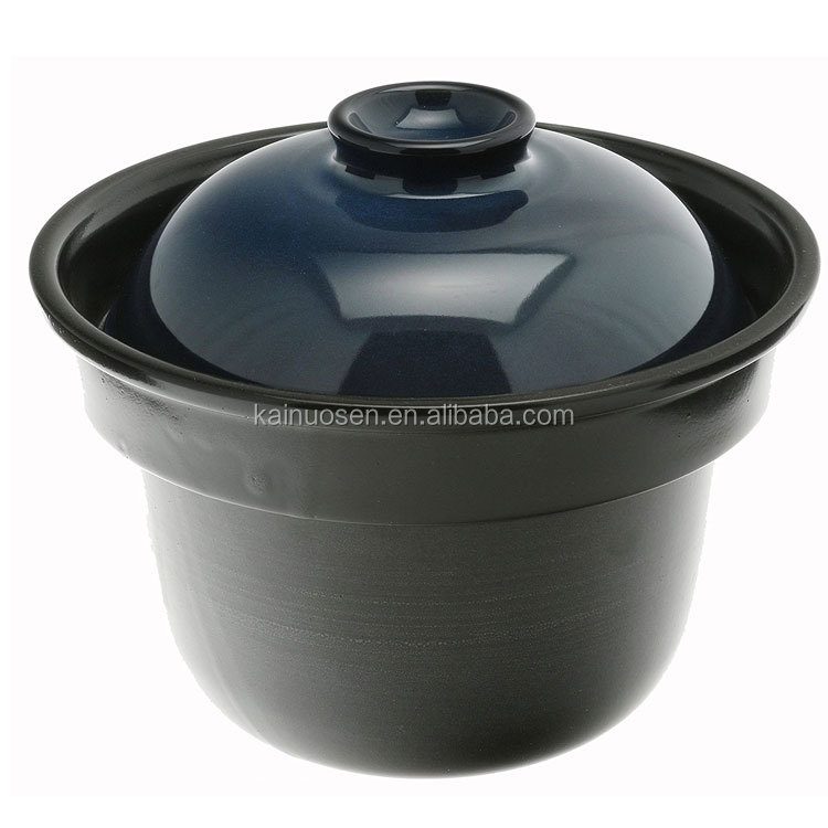 Earthenware Rice Pot, Black with Blue Lid, Black