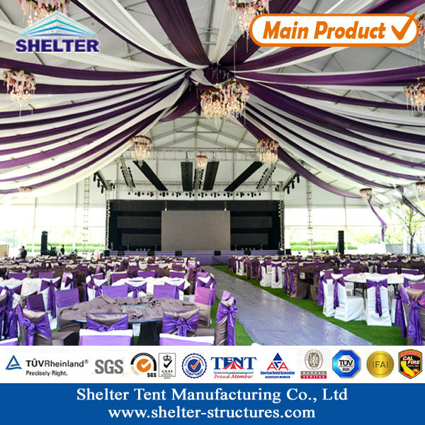 Guangzhou cheap large party tents for wedding party with luxury roof lining curtains