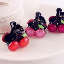 Wholesale exquisite lovely acrylic cherry plastic girls hair claw