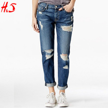 Women Denim Jean Pant Ripped Boyfriend Jeans Straight Leg can be Cuffed and Uncuffed