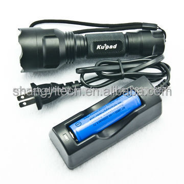 Multifunction Rechargeable 3 watt LED police flashlight torch light from military supplier