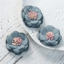 Fabric Flower For DIY Jewelry Craft Steel Gray Applique Work Designs