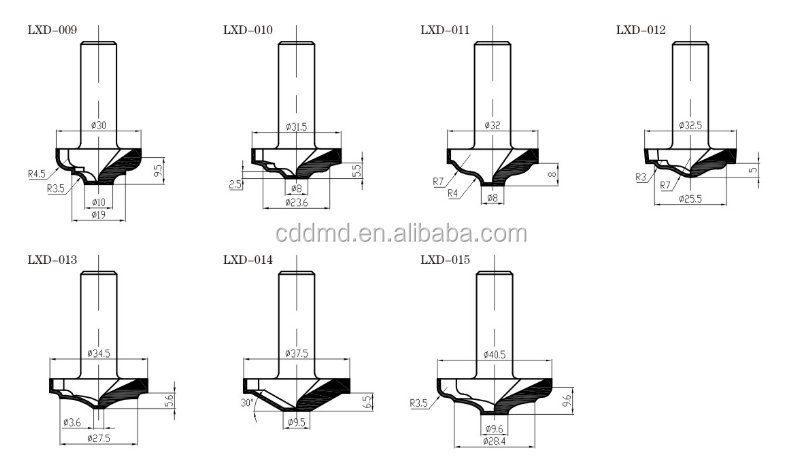 PCD spiral router bits for MDF Z=1+1router bits