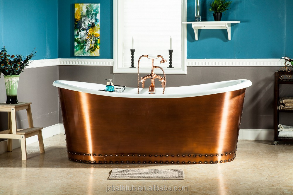 china made cheap big size 1829mm luxurous rivet skirt copper cast iron bath tubs