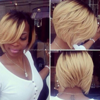 virgin brazilian hair full lace wigs ombre blonde bob human hair wigs wholesale two tone short cut bob wigs with bangs