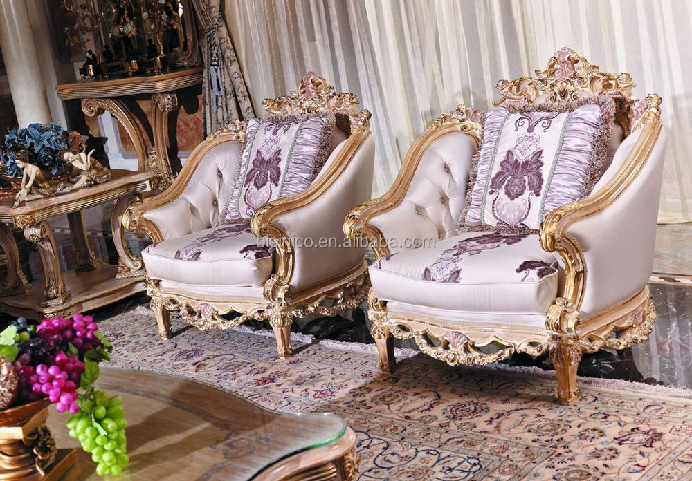 Luxury French Baroque Style Living Room Furniture Sofa Set