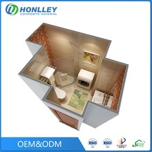 Low cost aluminum honeycomb mobile modular shower cabin, prefab shower bathroom