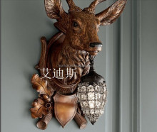 horse antler deer head wall lamps paintings for home decorative