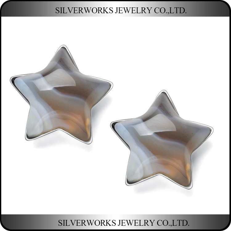 925 Sterling Silver Brown Pentacle Banded Agate Stone Stud Earrings